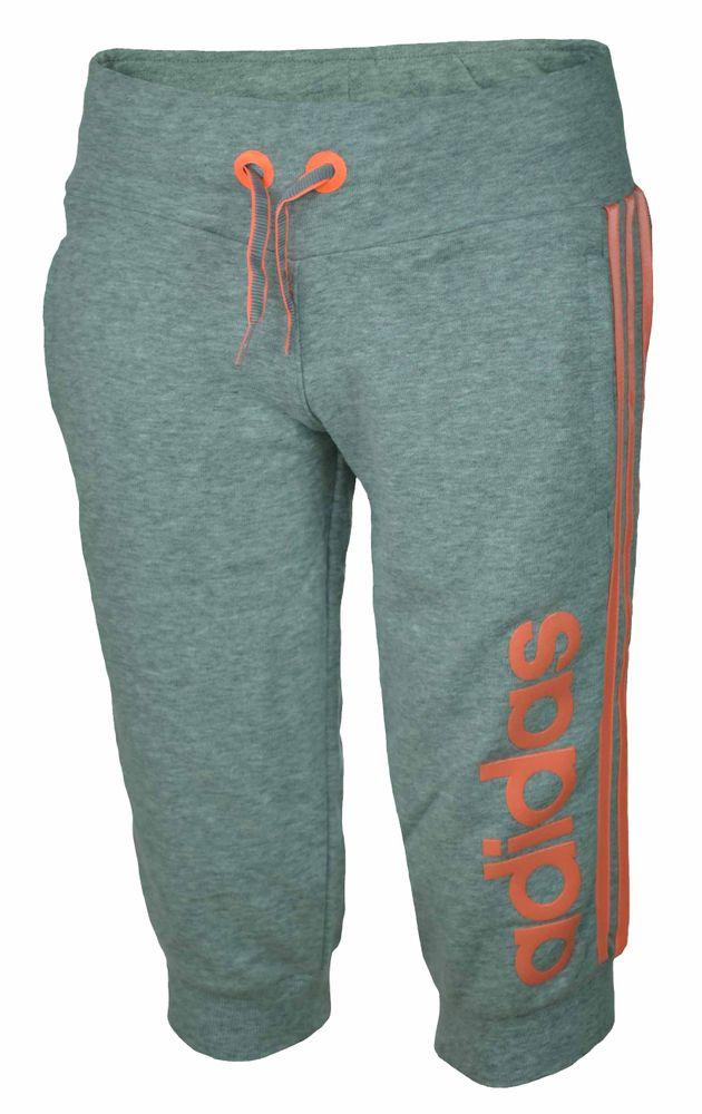 Adidas W Young Fun 3/4 Pant ClimaLite Girls Mädchen Short Capri Sporthose Grau