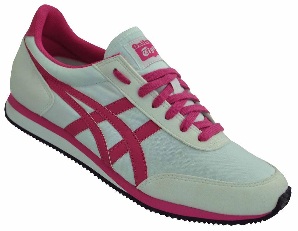 Asics Onitsuka Tiger Womens Sneaker Damen Sport Freizeit Schuhe Weiß/Fuchsia