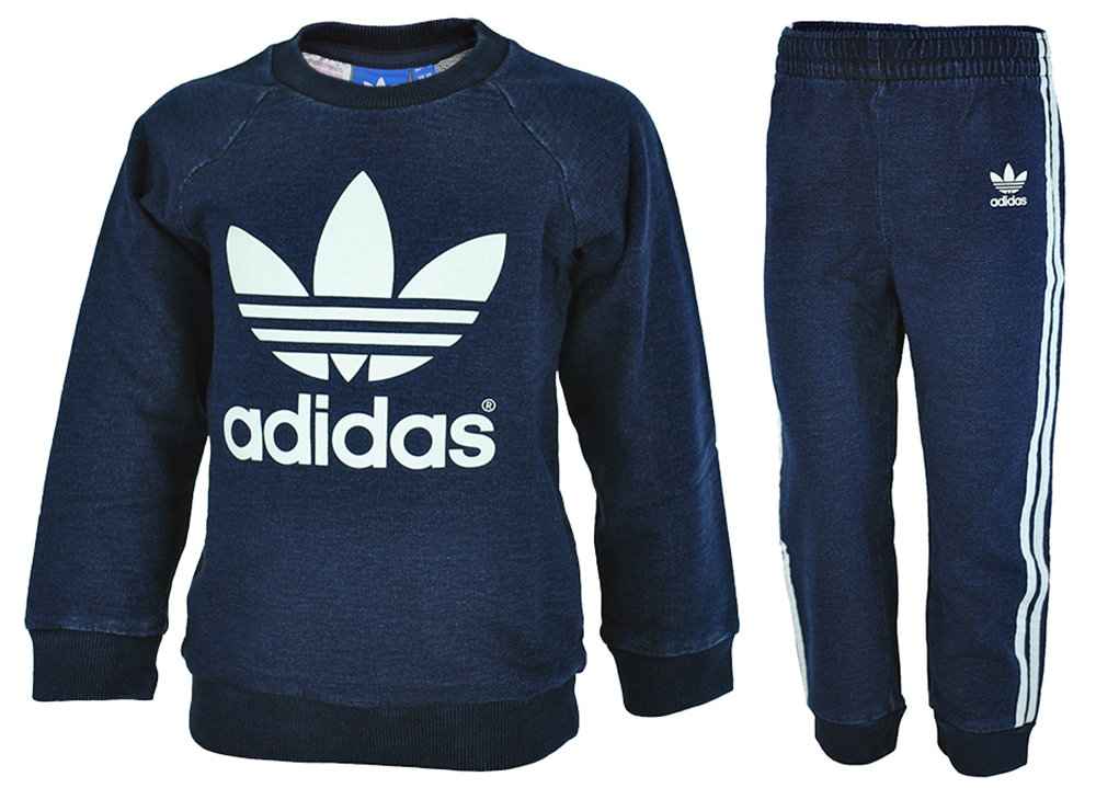 Adidas I Crew set Denim Baby Infants Originals Firebird Tracksuit Trainingsanzug Navy – Bild 1