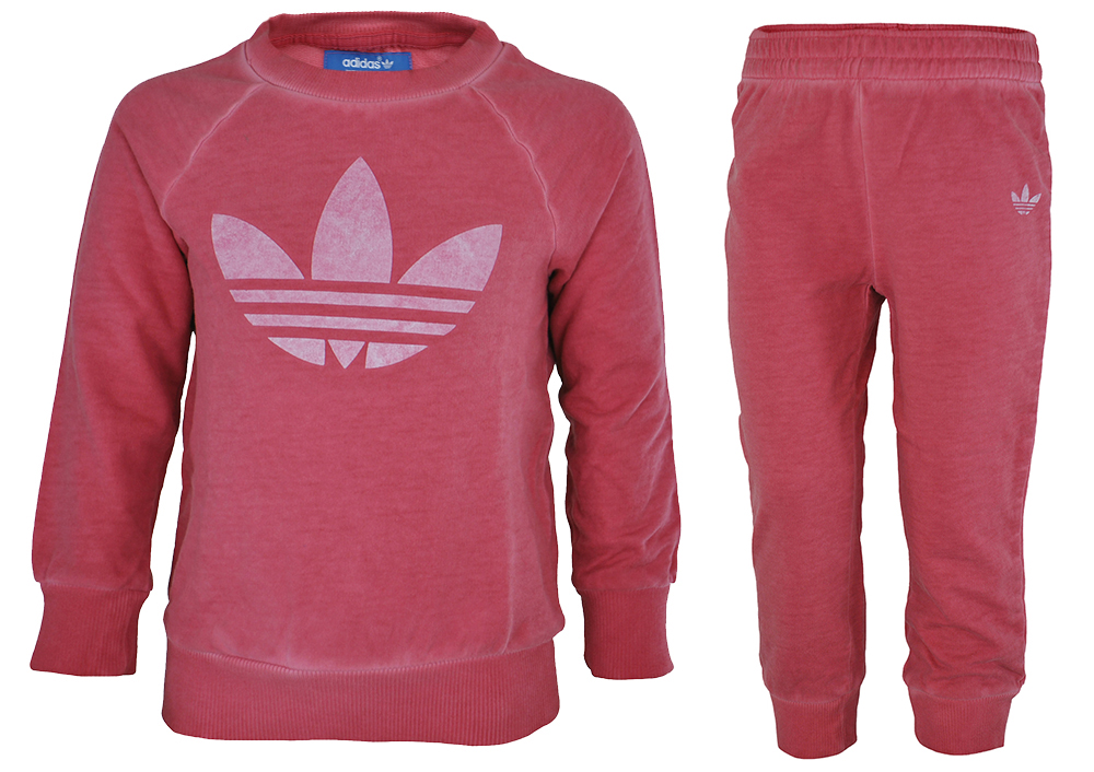 Adidas I Tery Crew Set Baby Infants Mädchen Originals Firebird Tracksuit Trainingsanzug Pink – Bild 1