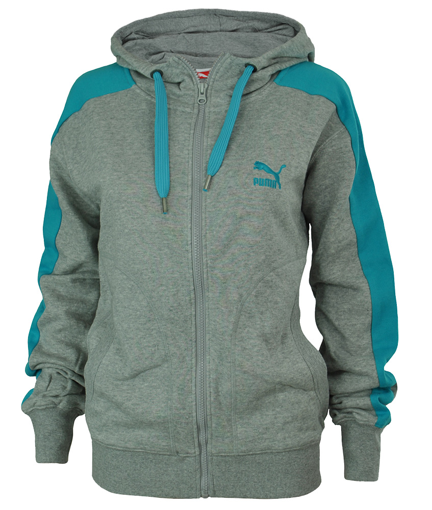 Puma athletic Hooded Sweat Jacket Damen Kapuzenpullover Hoody Sweatjacke Grau