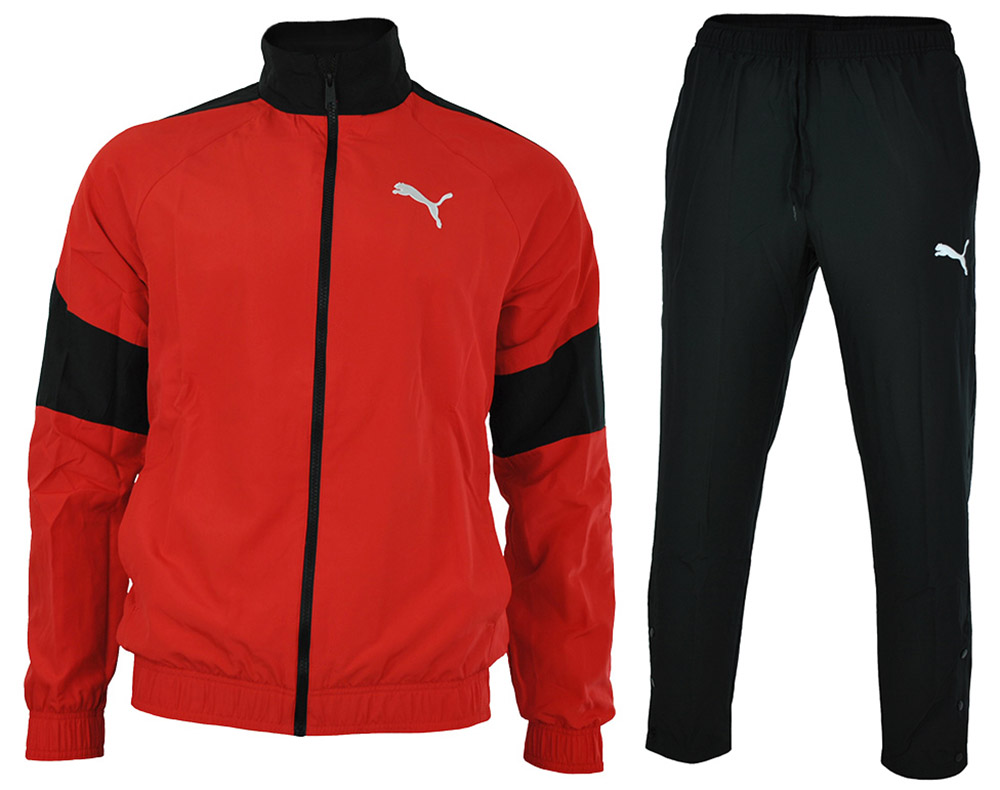 Puma Fun Graphic Woven Suit open Herren Sportanzug Trainingsanzug Rot / Schwarz