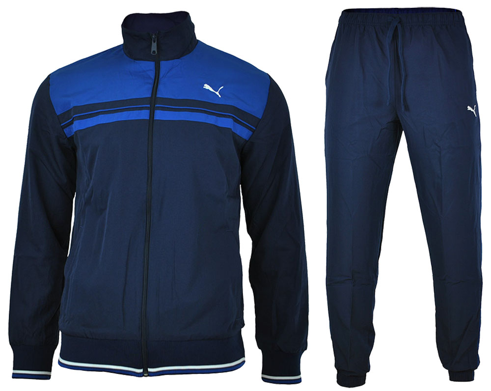 Puma Fun Woven Lux CB Suit Closed Herren Sportanzug Trainingsanzug Navy – Bild 1