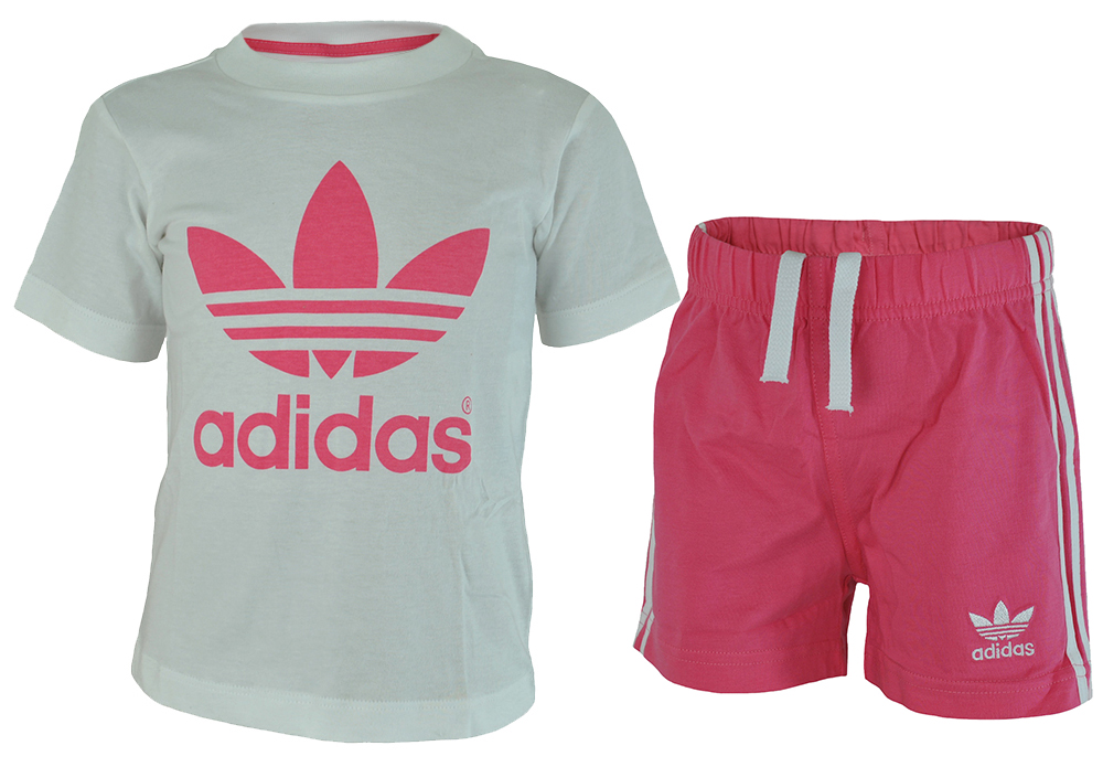 Adidas I Tee Short Set Baby Infants Mädchen Originals Firebird T-Shirt Short Weiß/Pink – Bild 1