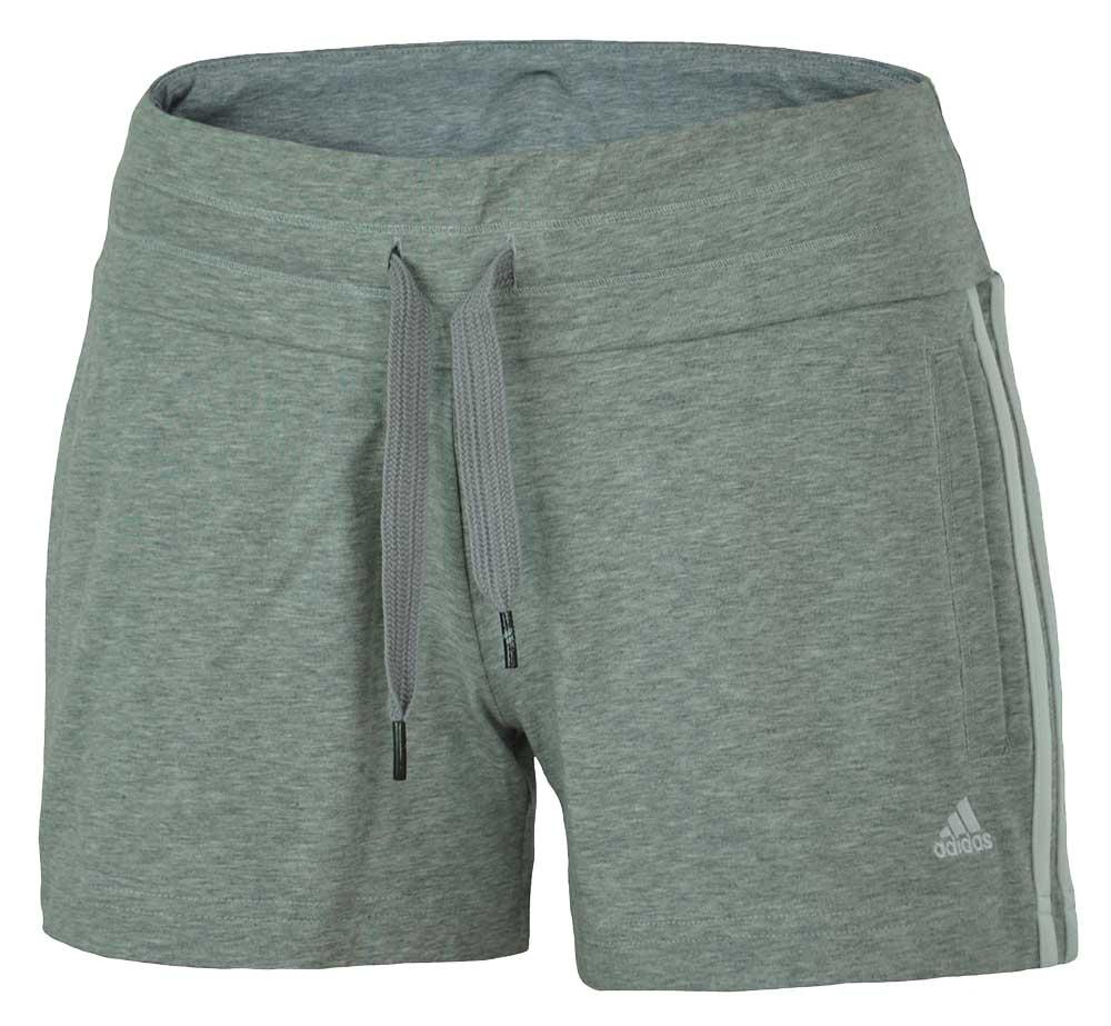Adidas ESS 3S Knit Short Climalite Cotton Stretch Damen Sport Shorts Grau