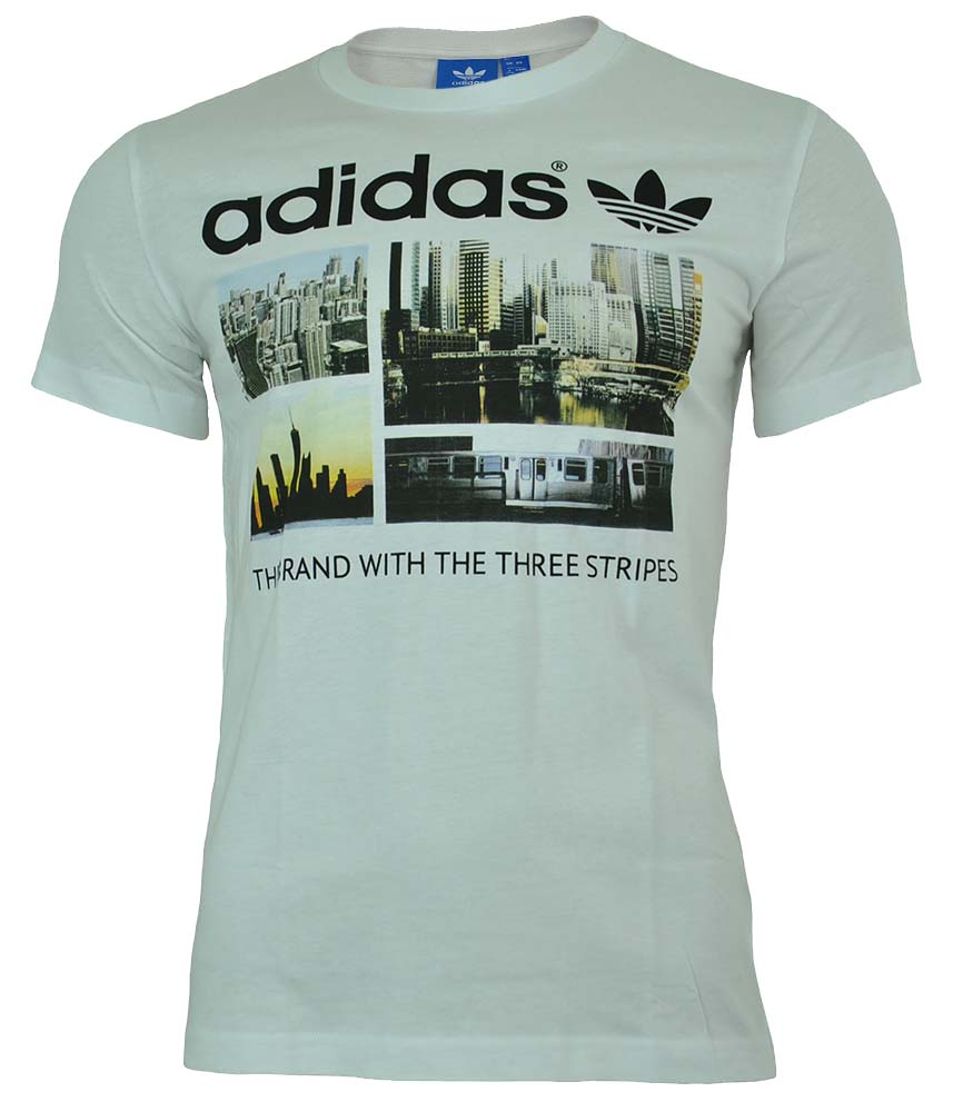 Adidas Adidas Photo 1 Trefoil Skyline Tee Originals Herren T-Shirt Weiß – Bild 1