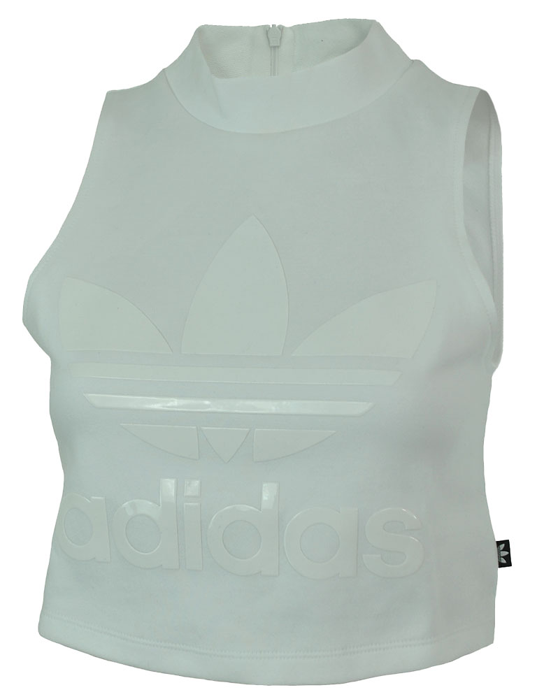 Adidas High Neck Tank Originals Damen Trefoil Top Shirt Weiß