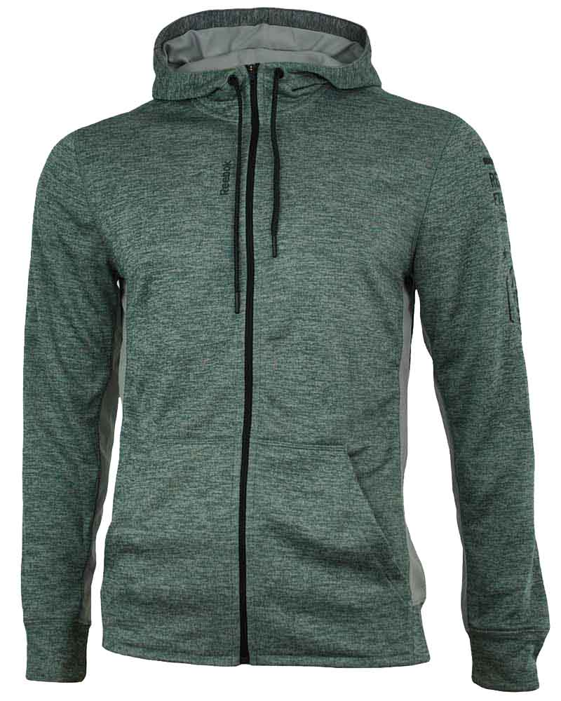 Reebok WOR MEL Graphic FZ Hooded Jacket Herren Crossfit Slim SpeedWick Grau