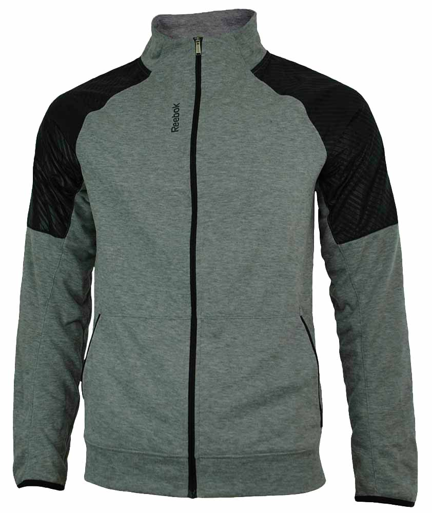 Reebok SE Fabmix Track Jacket Herren PlayDry Slim Fit Trainingsjacke Grau