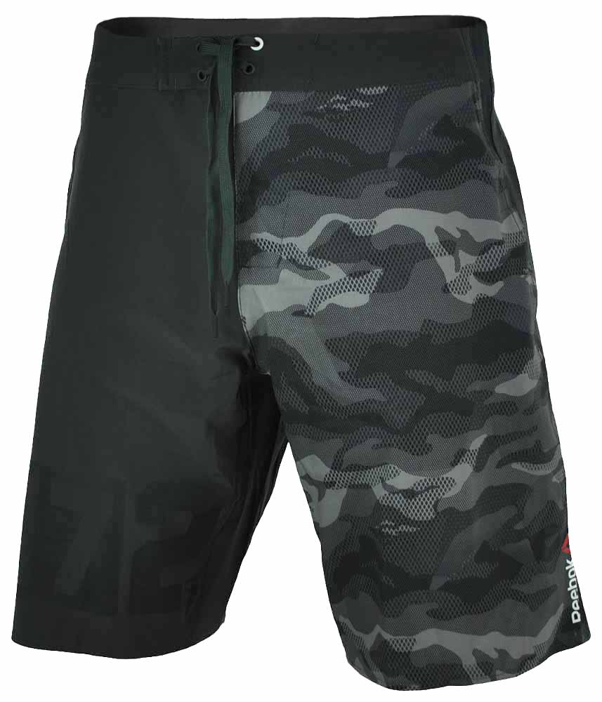 Reebok OS Camo Short CrossFit Herren SpeedWick UV Protection Board Shorts Grau – Bild 1