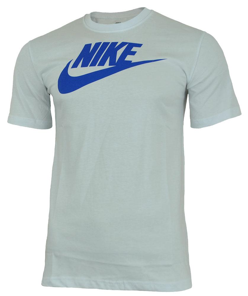 Nike Futura Tee Herren Sport Slim Fit Fitness Baumwolle Shirt T-Shirt Weiß/Blau – Bild 1