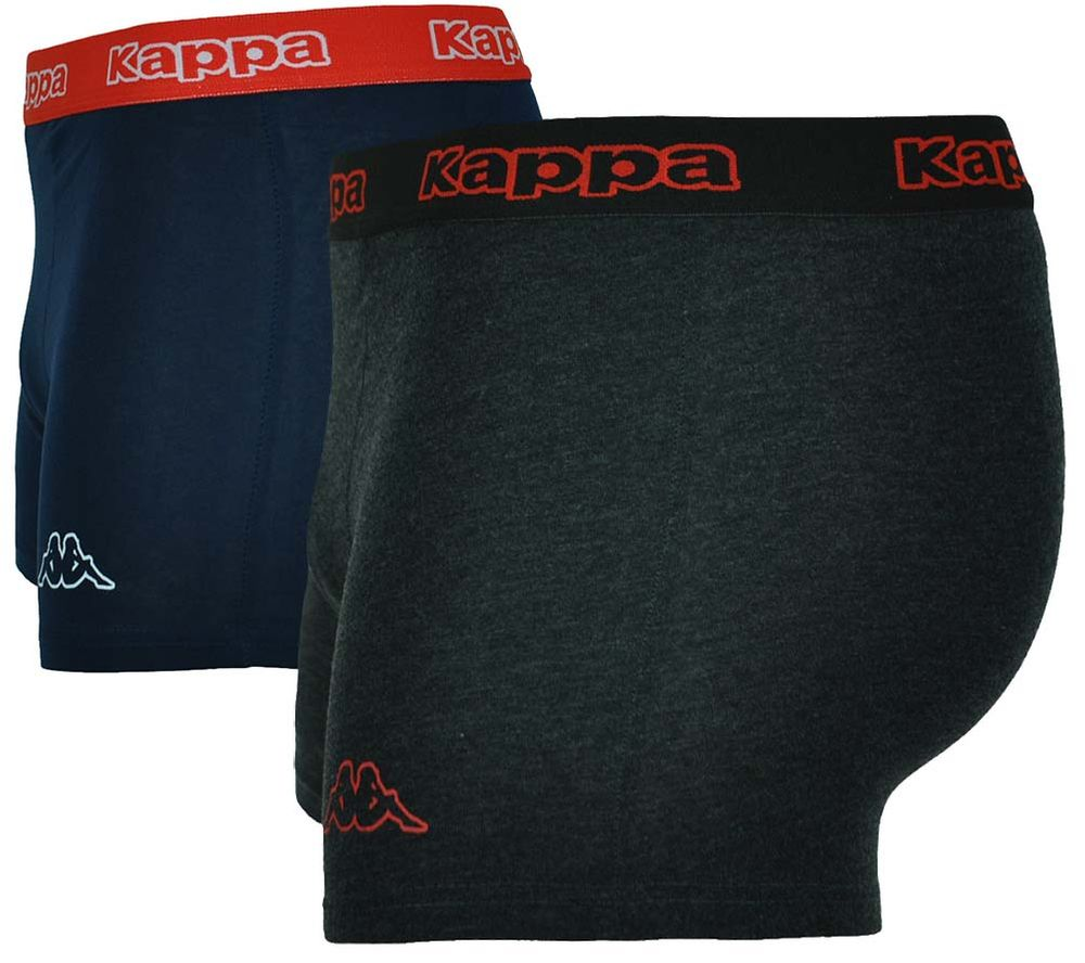 2x Kappa Logo Boxer Short Herren Boxershorts 2 Stück Dunkelgrau/Navy/Rot – Bild 2