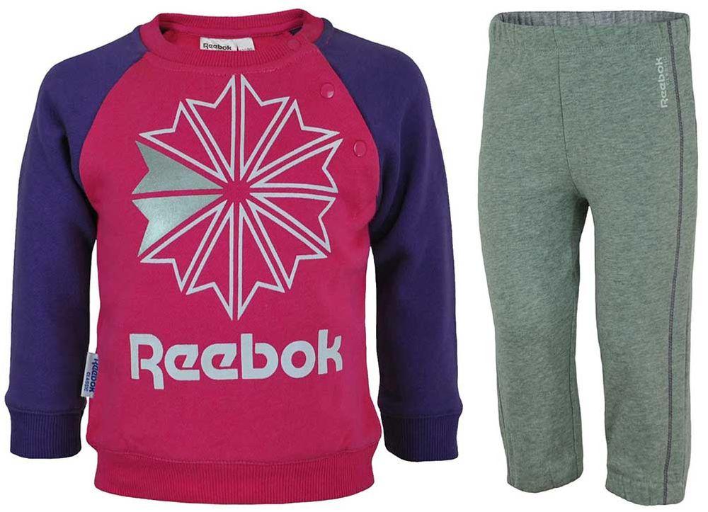 Reebok Jogging Set Kids Tracksuit Baby Jogginganzug Trainingsanzug Pink/Grau