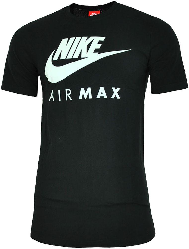 Nike Air Max Tee Herren Sport Fitness Baumwolle Shirt T-Shirt Schwarz/Weiß