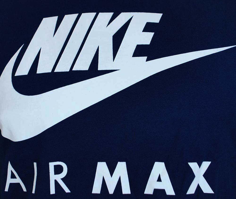 Nike Air Max Tee Herren Sport Fitness Baumwolle Shirt T-Shirt Navy/Weiß – Bild 2