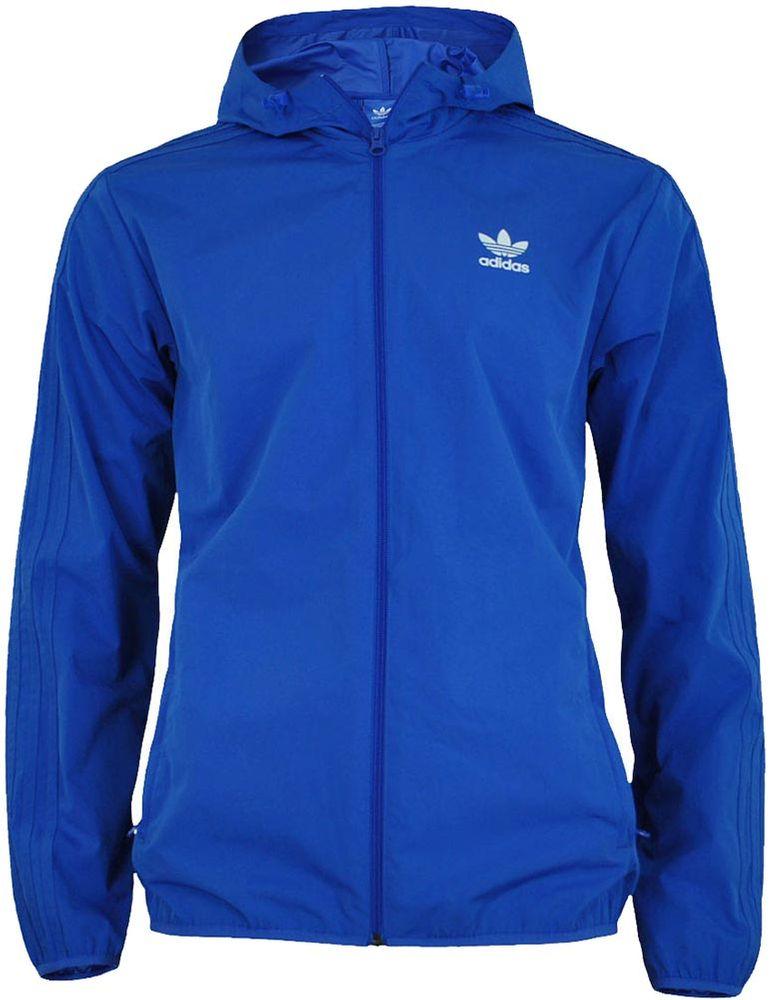 Adidas NYC Heringbe WB Herren Windbreaker Originals Retro Windjacke Jacke Blau