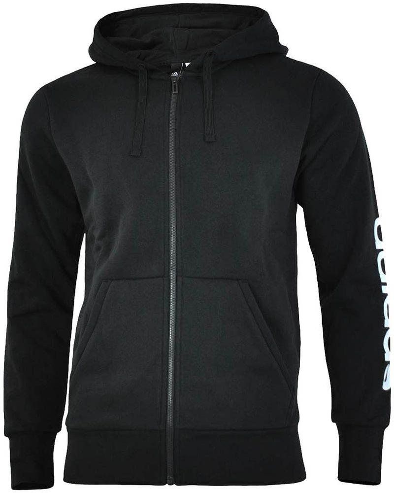 Adidas ESS Linear FZ Hood Hoody Jacket Herren Kapuzenjacke Sweatjacke Schwarz