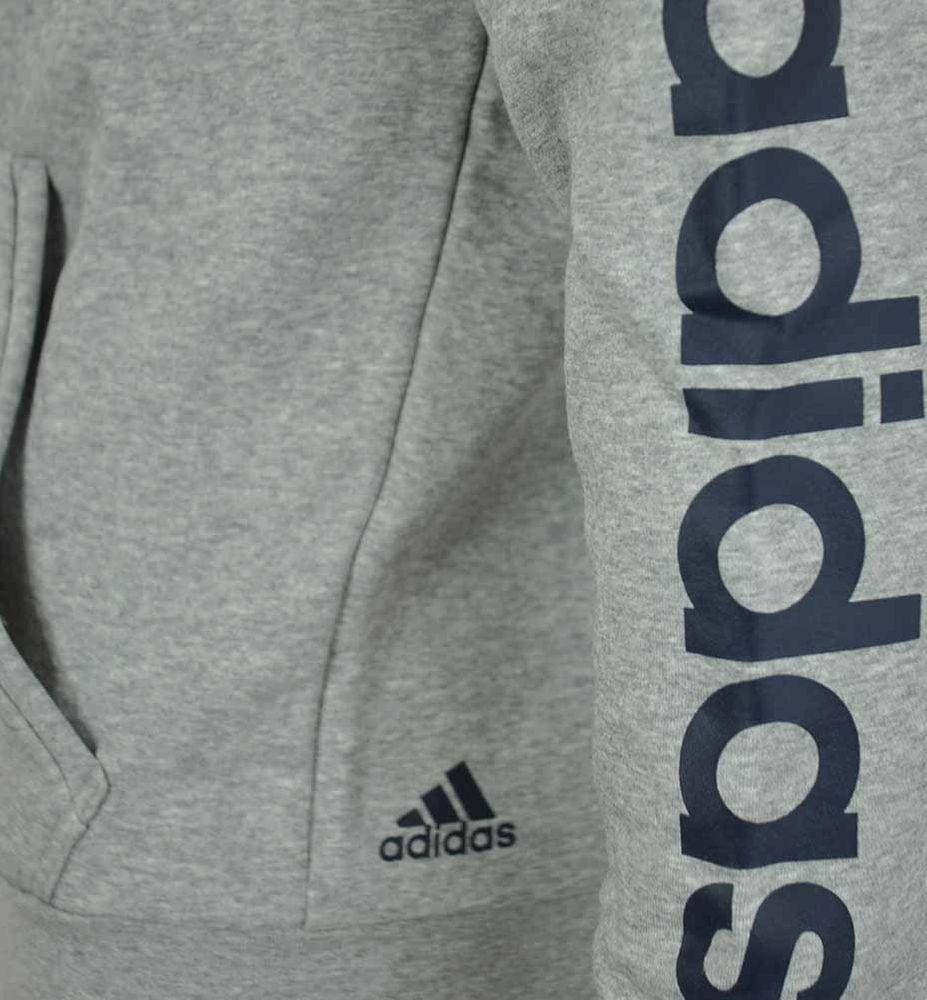 Adidas ESS Linear FZ Hood Hoody Jacket Herren Kapuzenjacke Sweatjacke Grau – Bild 5