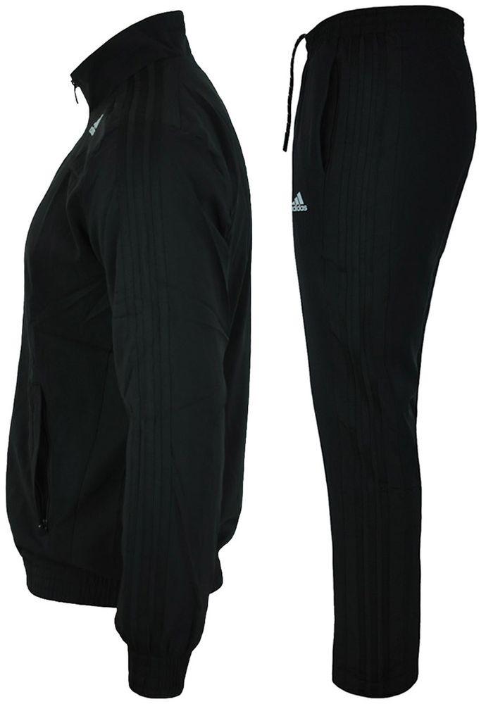 Adidas TS ESS Woven Suit Mens ClimaLite Sportanzug Herren Trainingsanzug Schwarz