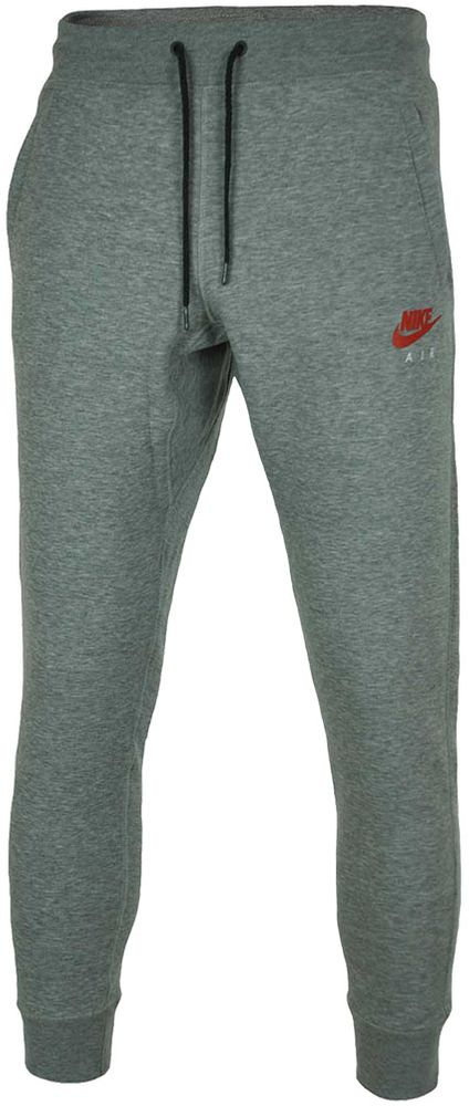Nike Air NSW FL Sweat Pants Herren Sporthose Sweathose Freizeit Grau/Rot – Bild 1