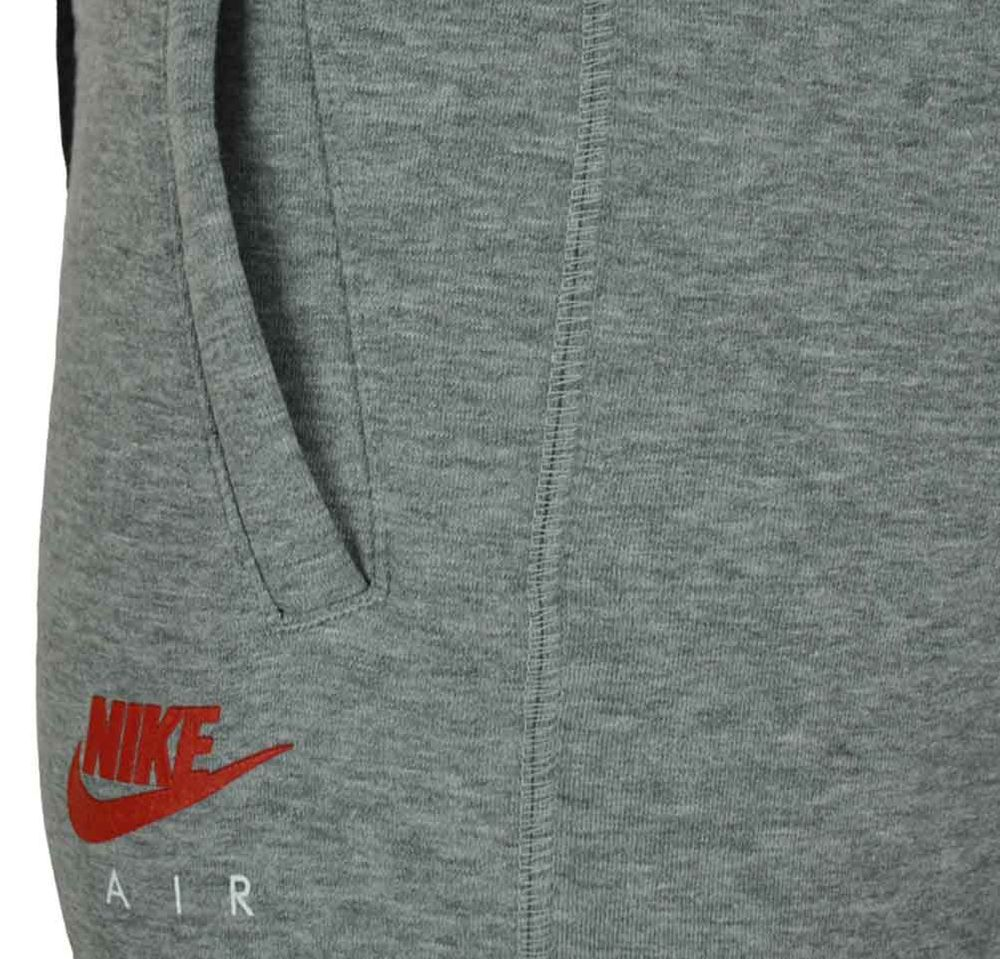 Nike Air NSW FL Sweat Pants Herren Sporthose Sweathose Freizeit Grau/Rot – Bild 3