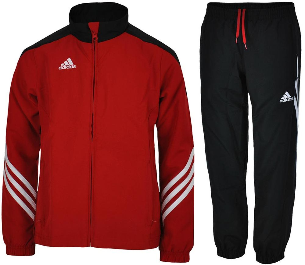 Adidas Sere14 Pre Suit Young Junior Woven Suit Sports Boys Tracksuit RedBlack