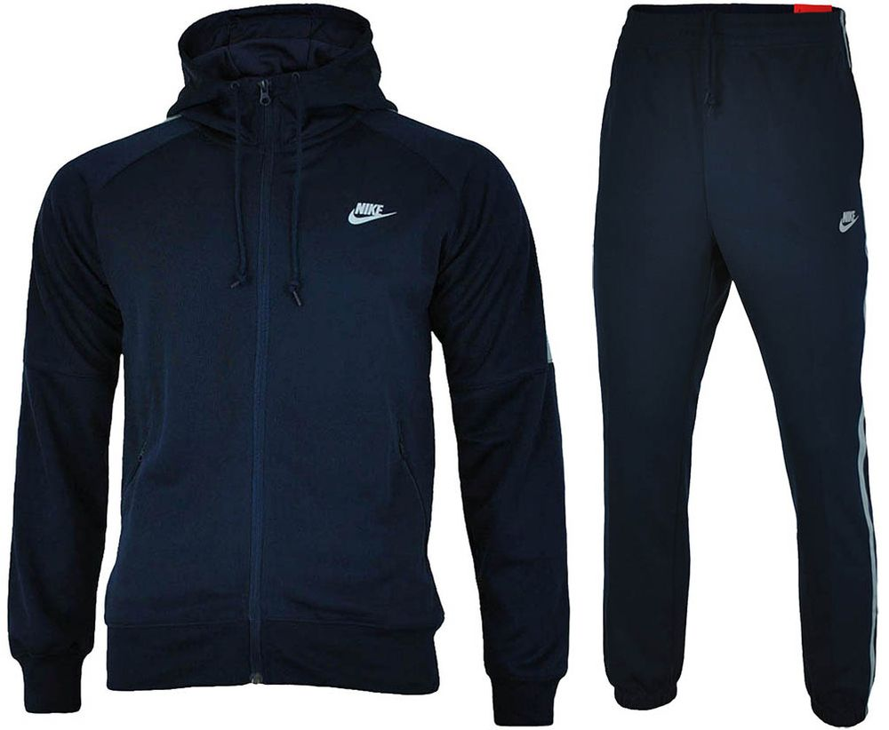 the best attitude 640b5 6f84d Nike Tribute Hooded Tracksuit Men's Sports Suit Navy/Gray ...