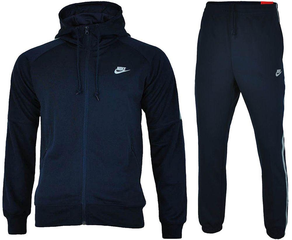 Nike Tribute Hooded Tracksuit Herren Sportanzug Trainingsanzug Navy/Grau