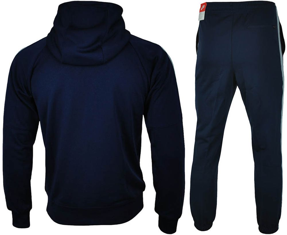 Nike Tribute Hooded Tracksuit Herren Sportanzug Trainingsanzug Navy/Grau – Bild 3