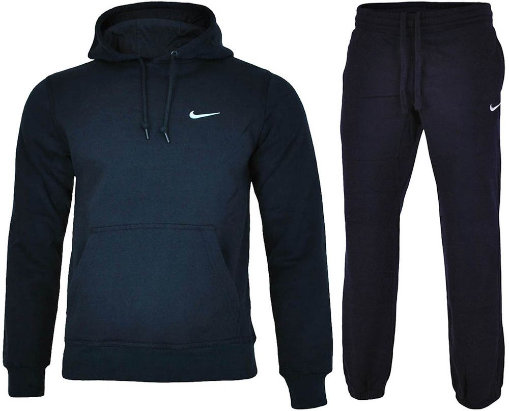 Nike Classic Swoosh Club Hooded Tracksuit Herren Sportanzug Trainingsanzug Navy – Bild 1