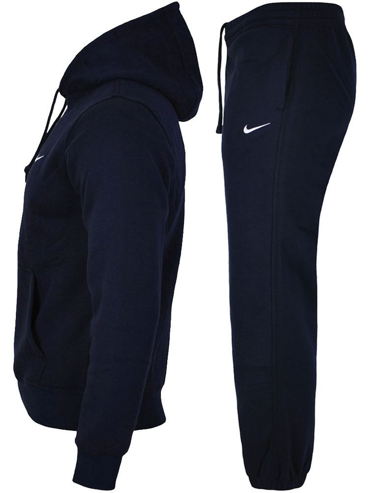 Nike Classic Swoosh Club Hooded Tracksuit Herren Sportanzug Trainingsanzug Navy – Bild 2