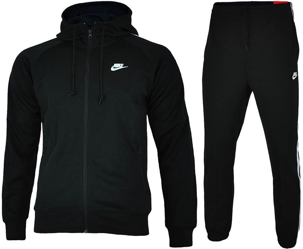 9386f93a8546 Nike Tribute Hooded Tracksuit Men s Sports Suit Black White
