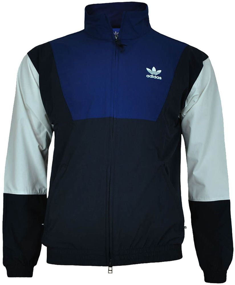 Adidas Blocked Wind Jacket Herren Windbreaker Originals Retro Windjacke Jacke Navy/Weiß – Bild 1