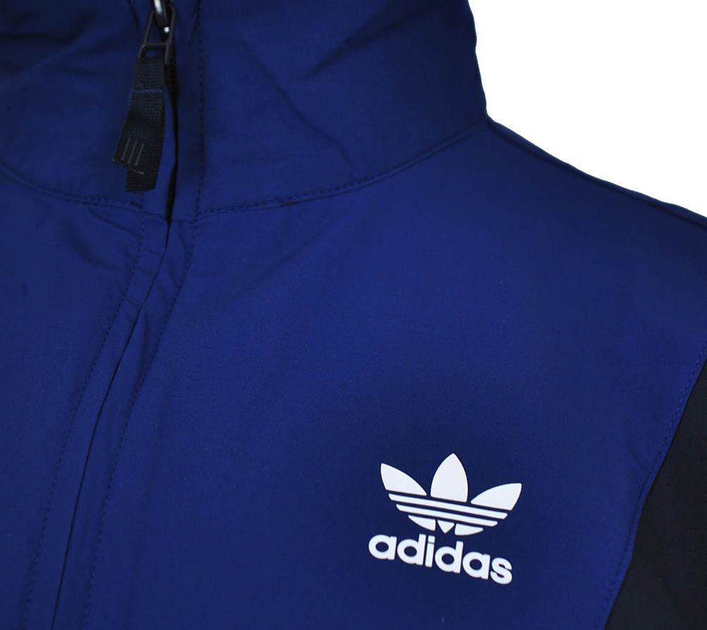 Adidas Blocked Wind Jacket Herren Windbreaker Originals Retro Windjacke Jacke Navy/Weiß – Bild 2