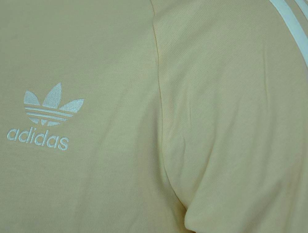 Adidas 3 Stripes Tee Trefoil Shirt Originals Retro Herren T-Shirt Beige – Bild 2