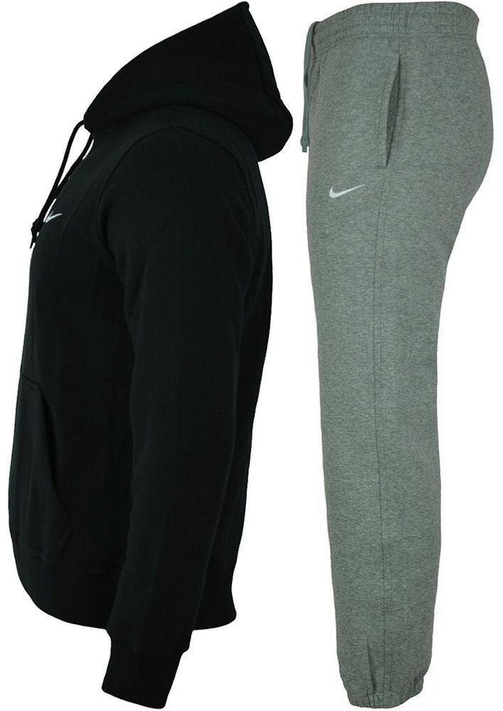 Nike Classic Swoosh Club Hooded Tracksuit Herren Sportanzug Trainingsanzug Schwarz/Grau – Bild 2