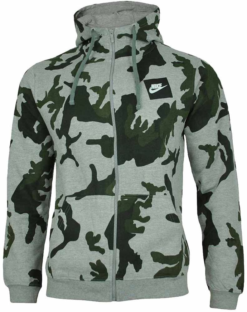 huge selection of 13e20 28e73 Nike Camo Full Zip AOP Hoody Club Hoodie Herren Kapuzenpullover Sweatjacke  Grau