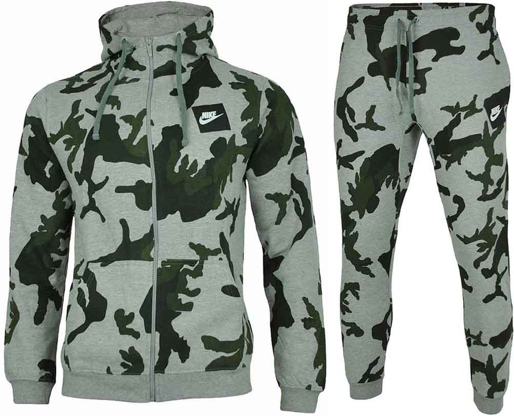 Nike Camo Full Zip Hooded Tracksuit Herren Sportanzug Trainingsanzug Grau/Grün – Bild 1