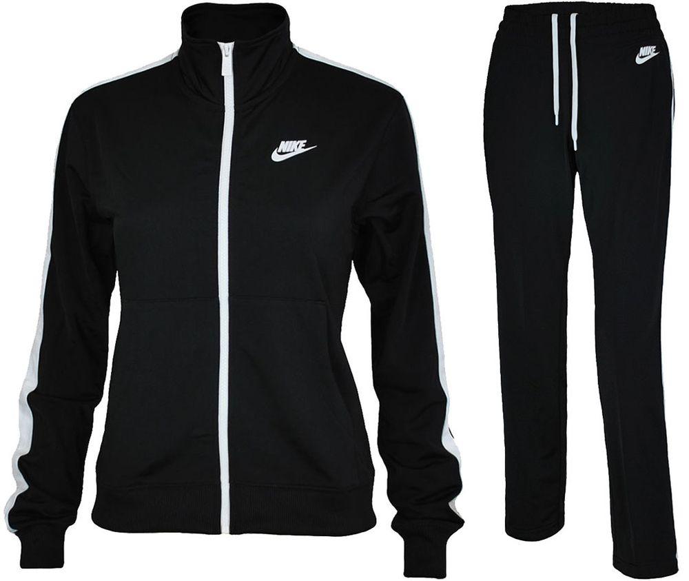 Details zu Nike NSW PK OH Tracksuit Damen Sportanzug Trainingsanzug Schwarz/Weiß