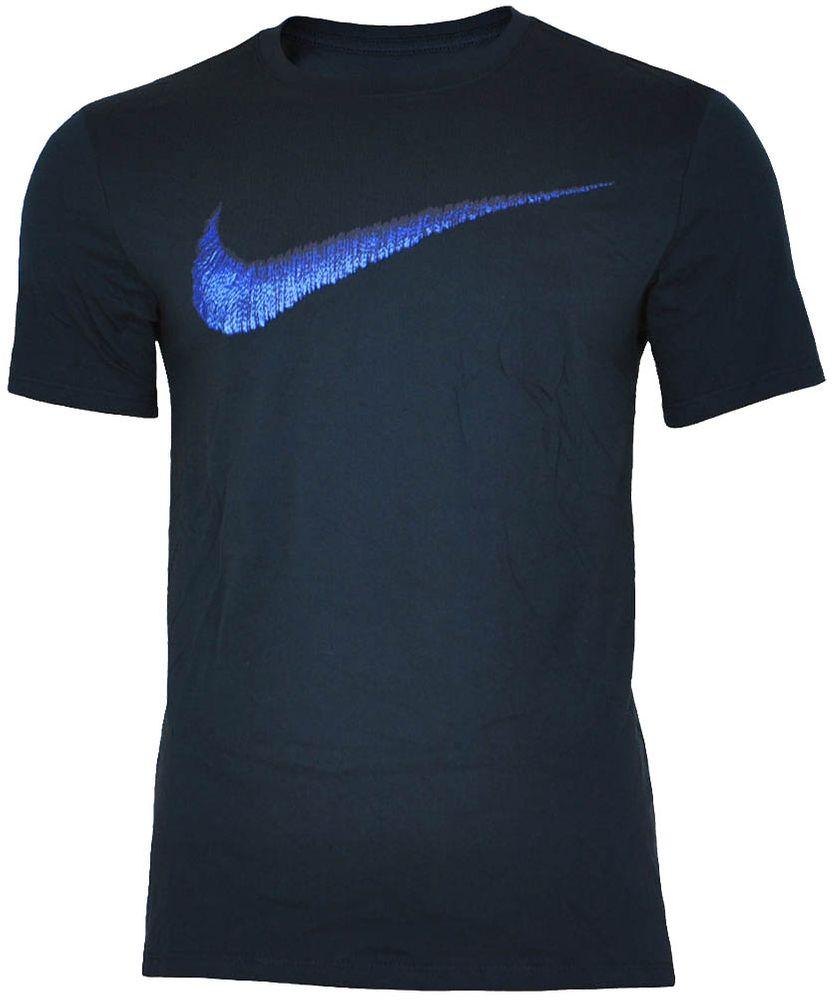 Nike Hangtag Swoosh Tee Herren Slim Fit Fitness Baumwolle Shirt T-Shirt Navy/Blau – Bild 1