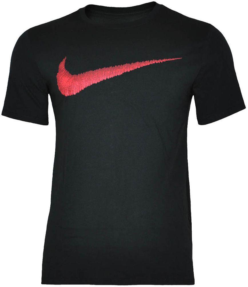 Nike Hangtag Swoosh Tee Herren Slim Fit Fitness Baumwolle Shirt T-Shirt Schwarz/Rot