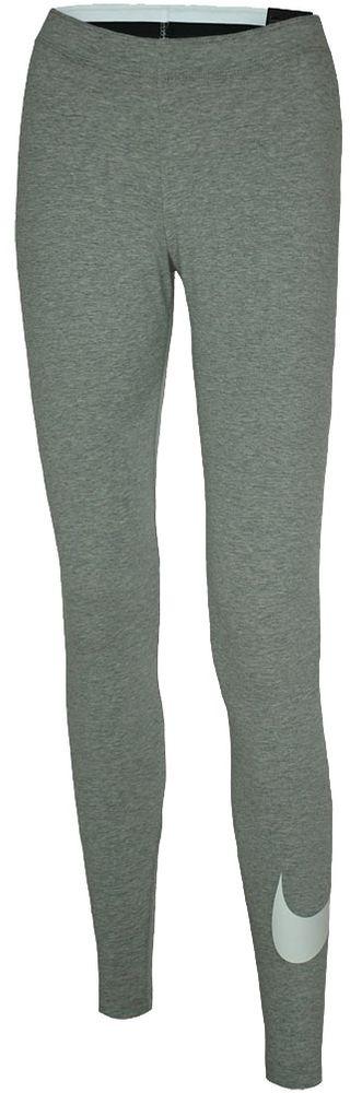 Nike NSW Logo2 Tight Club Damen Studio Fitness Leggings Hellgrau/Weiß 001