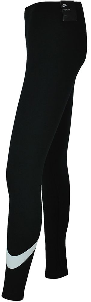 Nike NSW Logo2 Tight Club Damen Studio Fitness Leggings Schwarz/Weiß – Bild 2