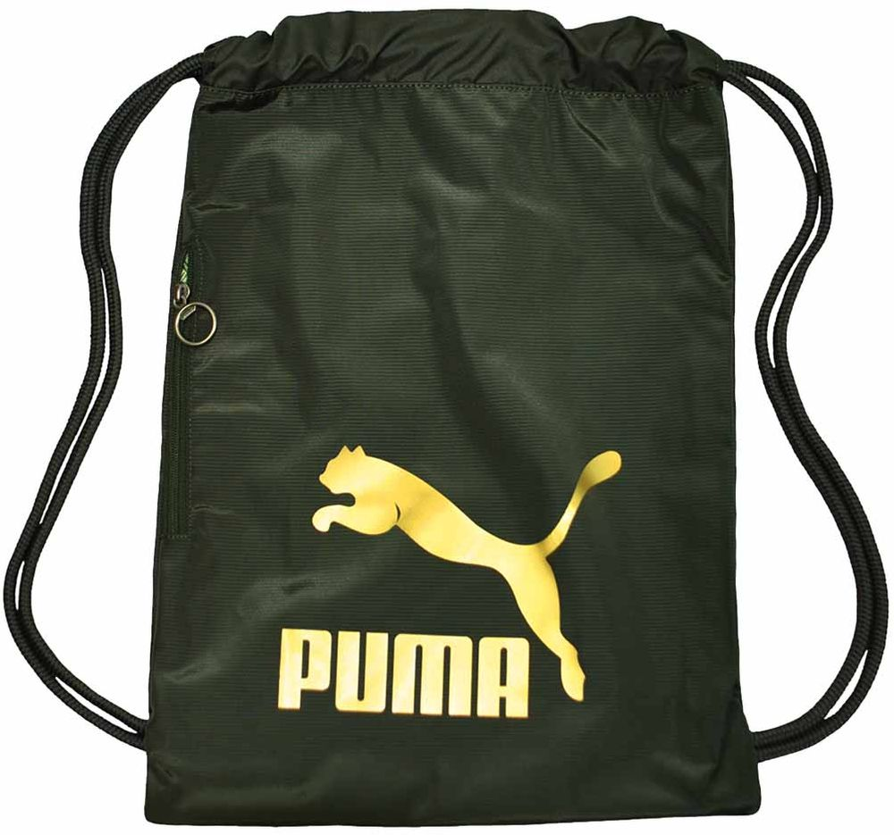 Puma Originals Gym Sack Gymnastic Gymnastik Beutel Turnbeutel Forest Night-Gold
