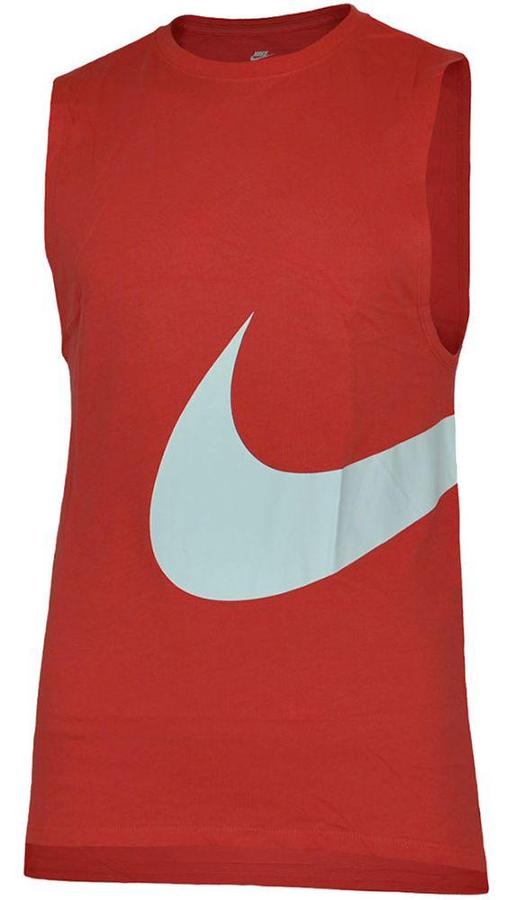 Nike Hybrid Swoosh Logo Vest Shirt Herren Tank Top Muskelshirt Rot/Weiß – Bild 1