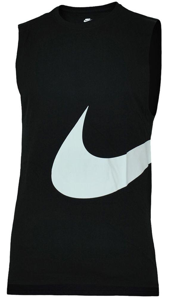 Nike Hybrid Swoosh Logo Vest Shirt Herren Tank Top Muskelshirt Schwarz/Weiß – Bild 1