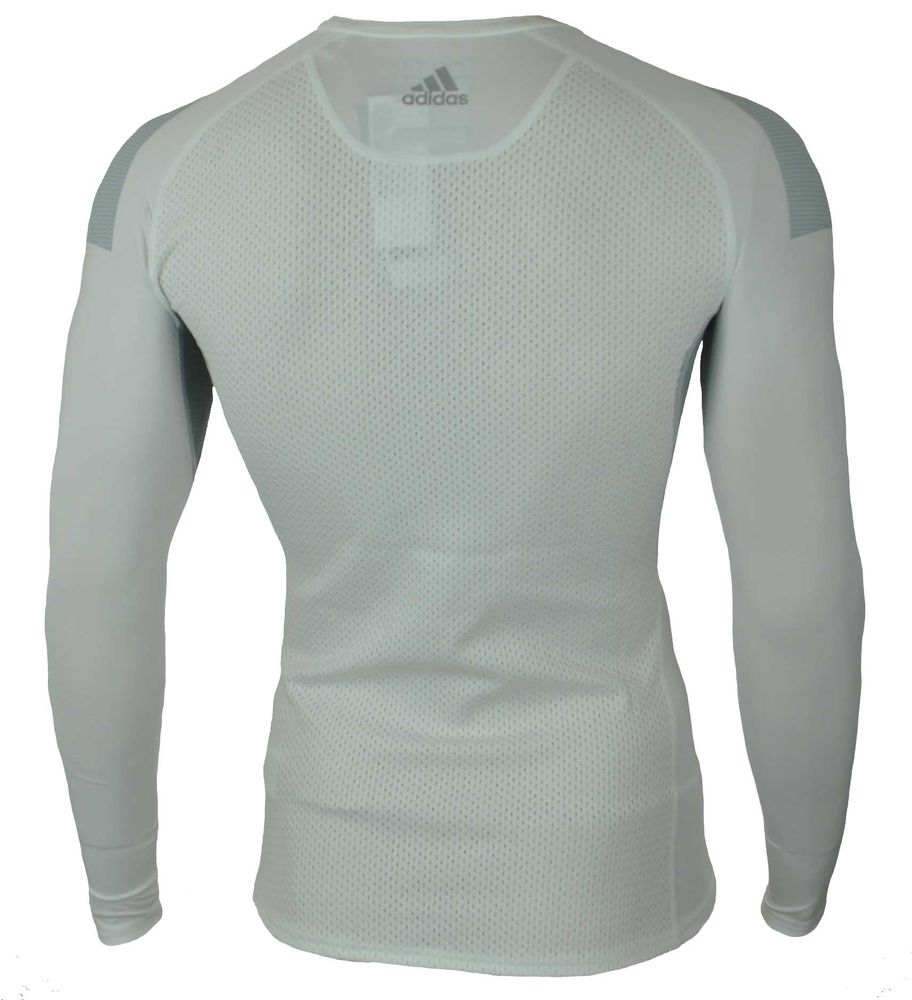 Adidas Cool LS P Techfit ClimaCool Longshirt Herren Compression Stretch Shirt Weiß – Bild 4