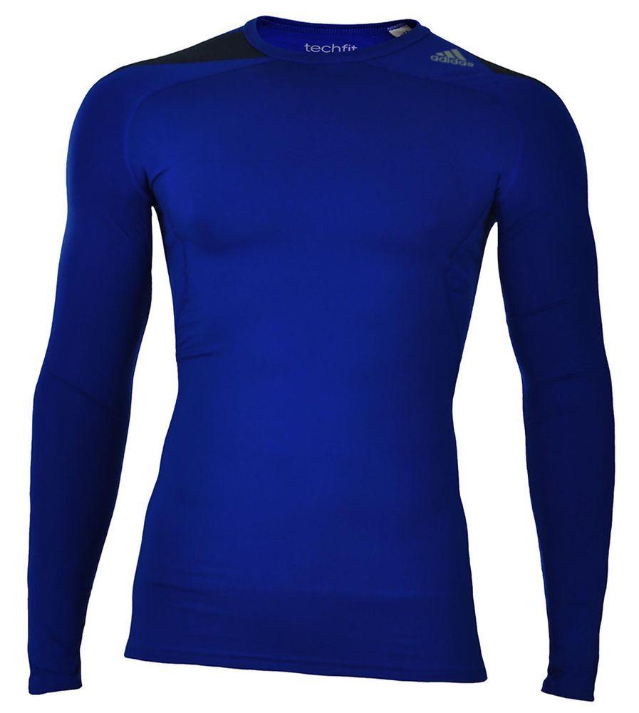 Adidas Cool LS P Techfit ClimaCool Longshirt Herren Compression Stretch Shirt Blau – Bild 1