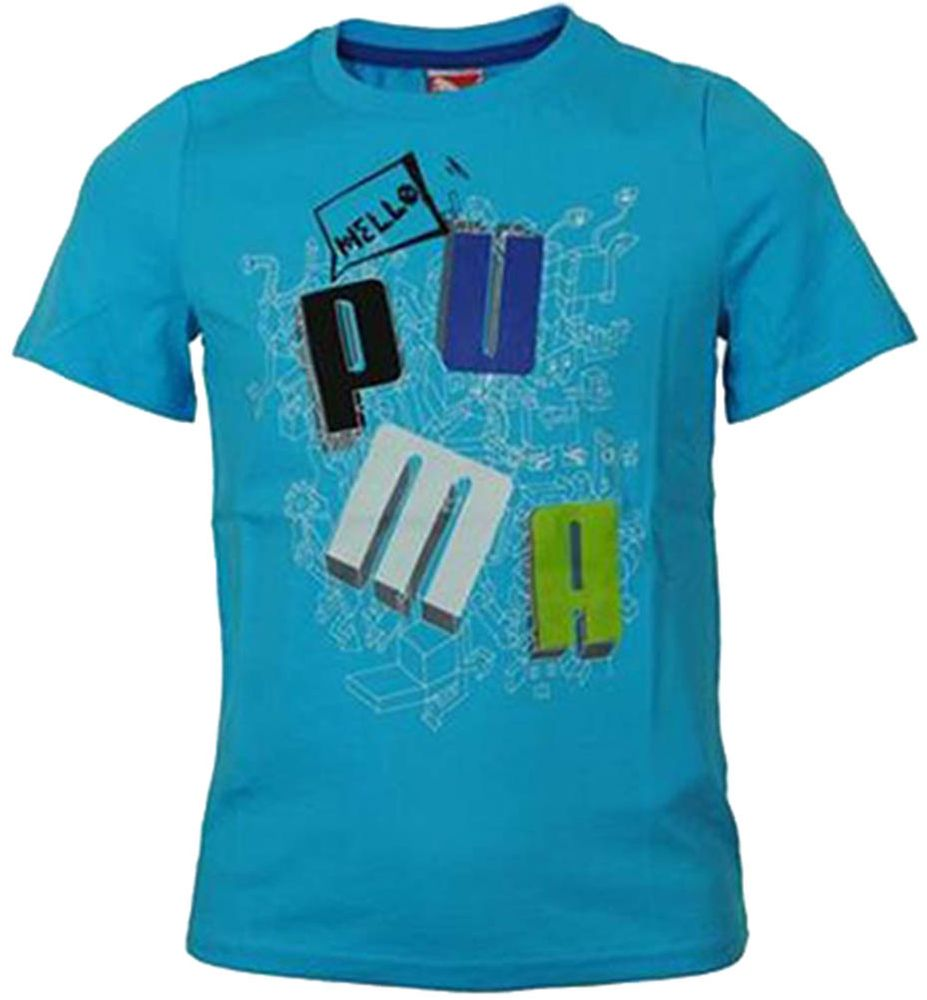 Puma School Tee Junior Kinder Sport Freizeit T-Shirt Blau