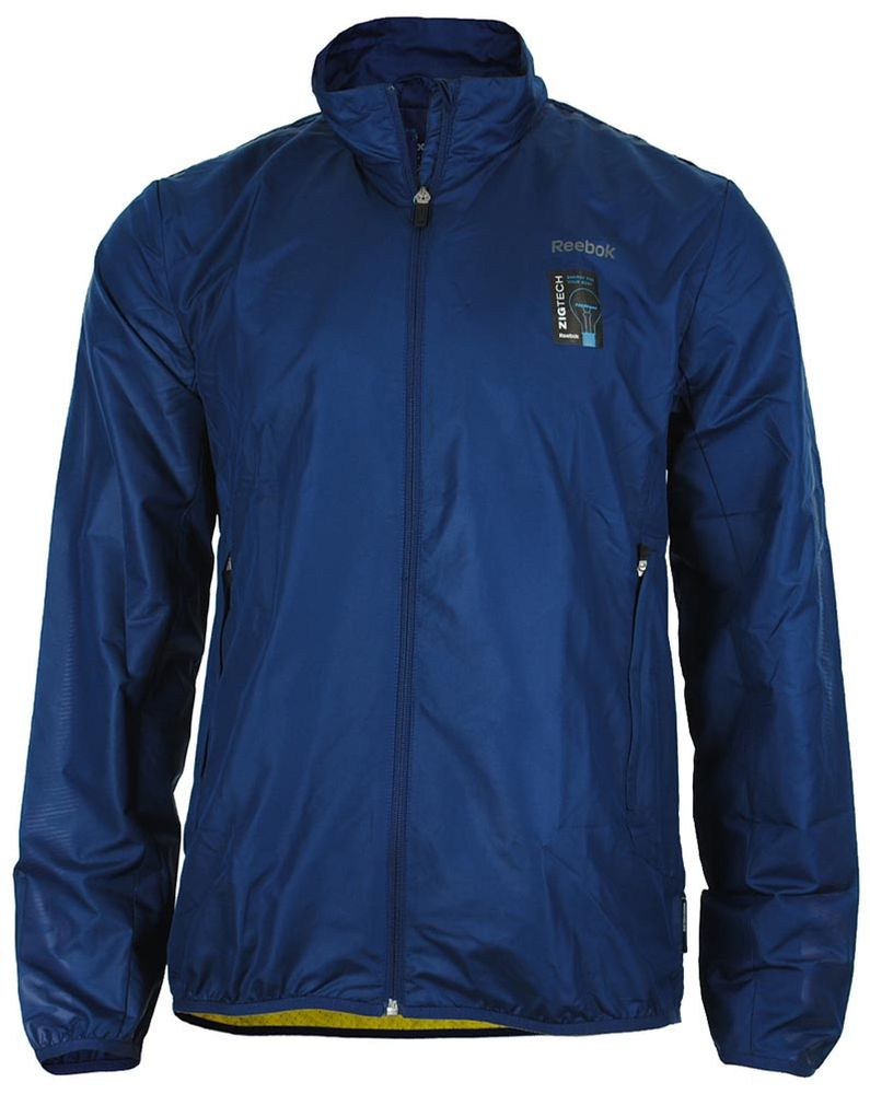 Reebok Zig Tech AT Jacket Mens Herren Slim Running Jacke Play Dry Blau